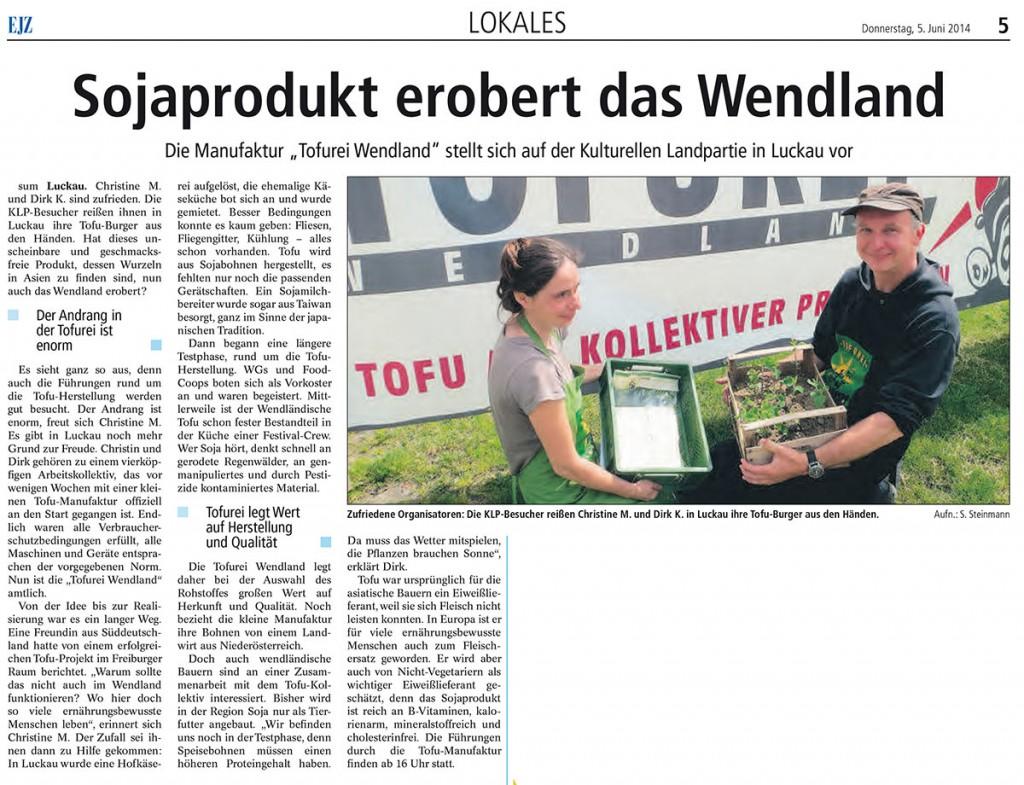 Tofurei Wendland EJZ-Artikel